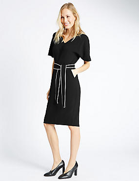 Kimono Tie Short Sleeve Shift Dress, BLACK, catlanding