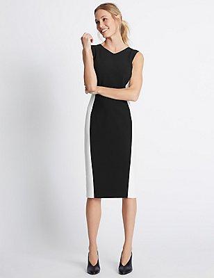 Sleeveless Shift Dress, BLACK MIX, catlanding