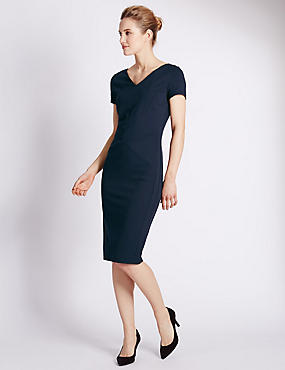 Secret Support™ Ponte V-Neck Shift Dress