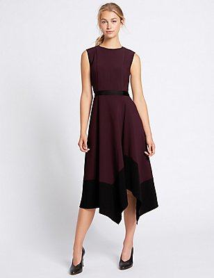 Robe midi coupe asymétrique à motif color block, AUBERGINE ASSORTI, catlanding