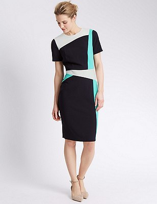 Secret Slimming™ Colour Block Shift Dress, AQUA MIX, catlanding