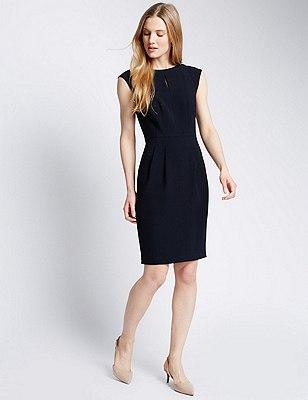 Sleeveless Crêpe Shift Dress, NAVY, catlanding