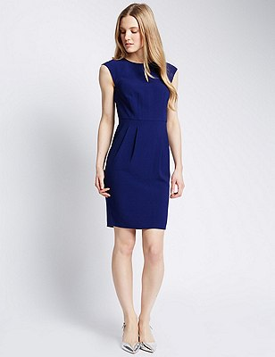 Sleeveless Crêpe Shift Dress , COBALT, catlanding