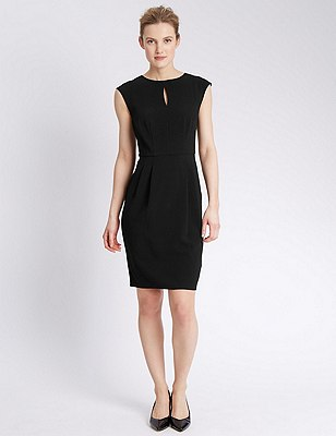 Sleeveless Crêpe Shift Dress , BLACK, catlanding