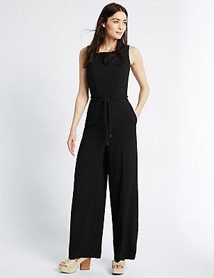 Side Button Hem Jumpsuit with Belt, BLACK, catlanding