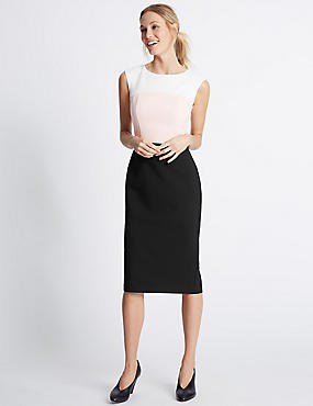 Colour Blocked Cap Sleeve Shift Dress, PINK MIX, catlanding