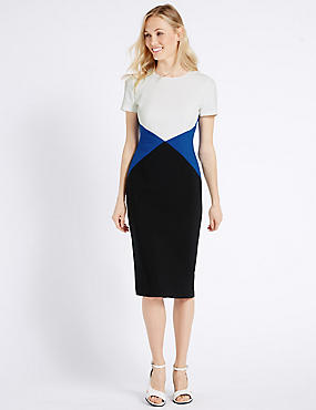 Triangular Colour Block Shift Dress, BLUE MIX, catlanding