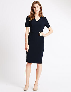 Lined Short Sleeve Shift Dress, NAVY, catlanding