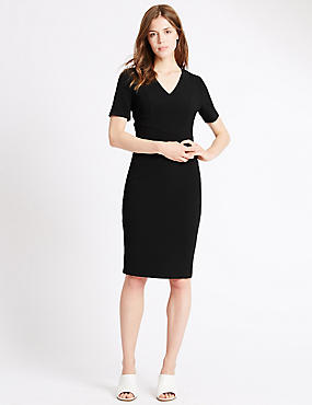 Lined Short Sleeve Shift Dress, BLACK, catlanding