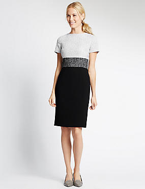 Short Sleeve Blocked Shift Dress, BLACK MIX, catlanding