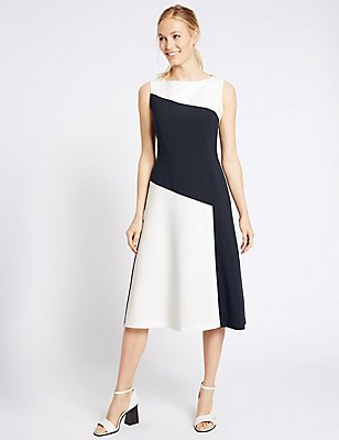 Colour Block Sleeveless Skater Dress, NAVY MIX, catlanding