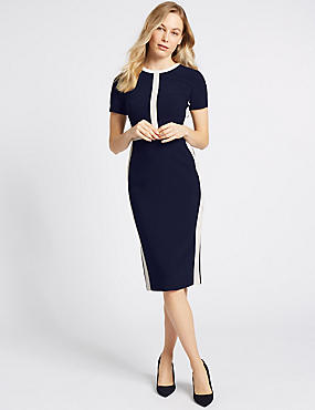 Colour Block Short Sleeve Shift Midi Dress, NAVY MIX, catlanding