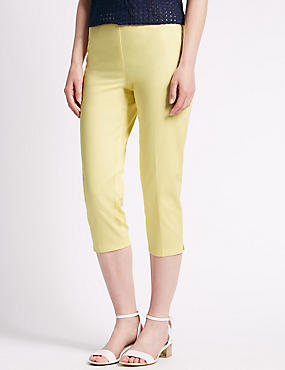 Side Zip Cropped Slim Leg Trousers, PALE YELLOW, catlanding