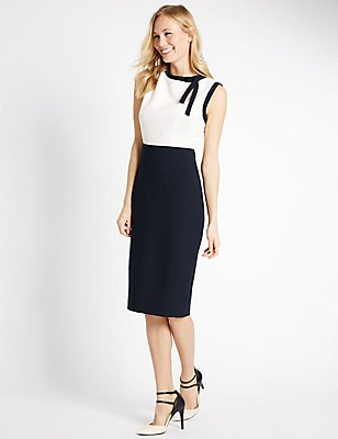 Colour Block Lined Sleeveless Shift Dress, NAVY MIX, catlanding