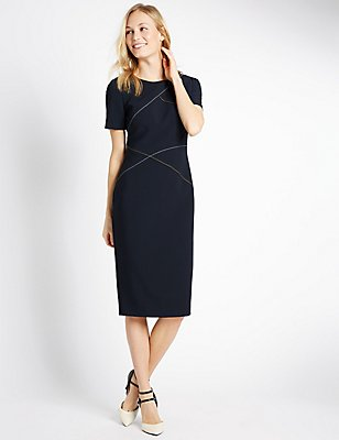 Cross Stitch Lined Short Sleeve Shift Dress, NAVY MIX, catlanding