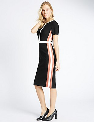 Colour Block Lined Short Sleeve Shift Dress, BLACK MIX, catlanding