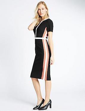 Colour Block Lined Short Sleeve Shift Dress, , catlanding