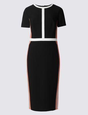 Прямое платье с полоской колор блок M&S Collection T599068D