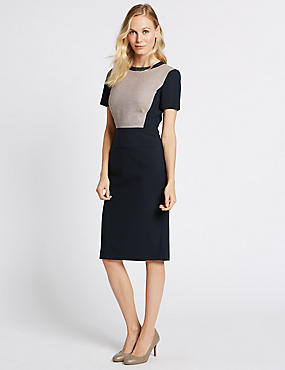 Colour Block Shift Midi Dress, NAVY MIX, catlanding