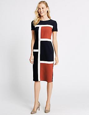 Colour Block Short Sleeve Shift Midi Dress, ORANGE MIX, catlanding