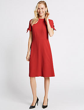 Tie Cuff Shift Midi Dress, SIENNA, catlanding