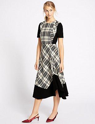 Cotton Blend Checked Midi Dress, BLACK MIX, catlanding