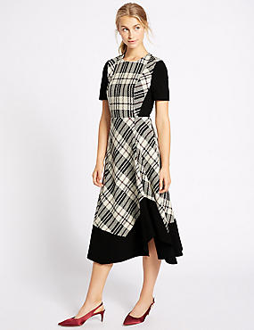 Cotton Blend Checked Midi Dress, BLACK MIX, catlanding