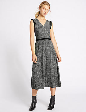 Checked Frayed Edge Midi Dress, BLACK MIX, catlanding