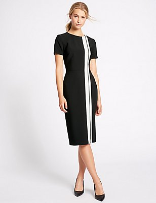 Colour Block Short Sleeve Shift Midi Dress, BLACK MIX, catlanding