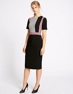 Checked Short Sleeve Shift Midi Dress, BLACK MIX, catlanding