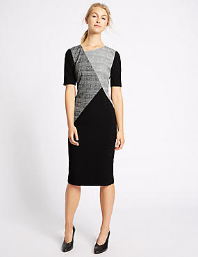 Checked Short Sleeve Shift Midi Dress, BLACK MIX, catlanding