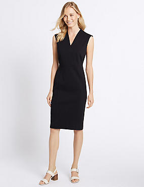 Cotton Rich V-Neck Bodycon Midi Dress, NAVY, catlanding