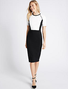 Colour Block Bodycon Dress , BLACK MIX, catlanding