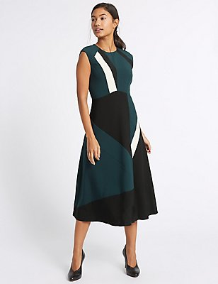 Colour Block Skater Midi Dress, TEAL MIX, catlanding