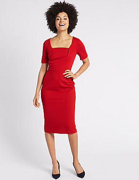 Ponte Short Sleeve Shift Midi Dress, RED, catlanding