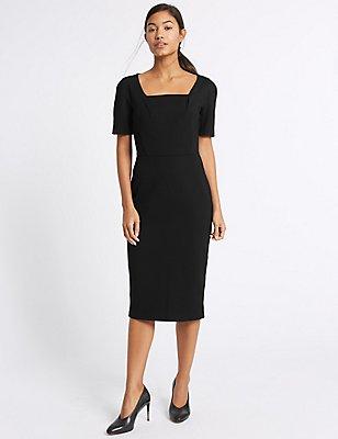 Ponte Short Sleeve Shift Midi Dress, BLACK, catlanding