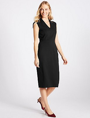 Ponte Shift Midi Dress, BLACK, catlanding