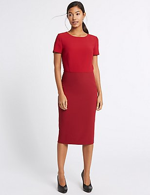 Colour Block Short Sleeve Bodycon Midi Dress, RED MIX, catlanding