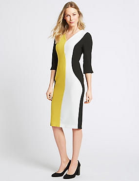 Colour Block 3/4 Sleeve Bodycon Dress, OCHRE, catlanding