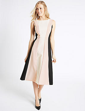 Colour Block Skater Dress, PINK MIX, catlanding