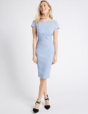 Pleated Front Bodycon Midi Dress , LIGHT BLUE, catlanding