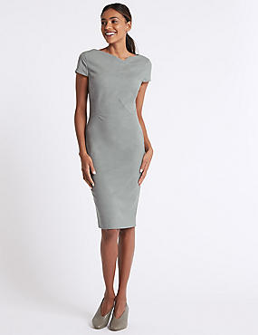Pleated Front Bodycon Midi Dress , GREY, catlanding