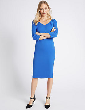 V-Neck Panel Detail ¾ Sleeve Bodycon Dress, BLUE, catlanding