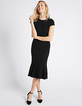 Frill Hem Cap Sleeve Bodycon Dress, BLACK, catlanding