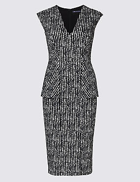 Textured Peplum Bodycon Dress, GREY, catlanding
