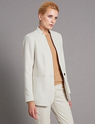 1 Button Long Sleeve Large Twill Blazer, ECRU, catlanding