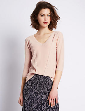 3/4 Sleeve Cable Knit Pointelle Jumper