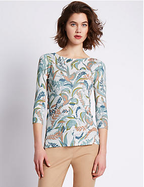 3/4 Sleeve Bird & Leaf Print Jumper