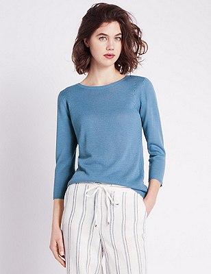 3/4 Sleeve Oriental Jumper with Linen, AZURE BLUE, catlanding