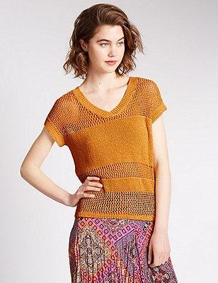 Loose Fit Crochet V-Neck Jumper, OCHRE, catlanding